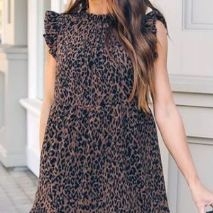Ruffle Sleeve Tiered Leopard Dress Pleated